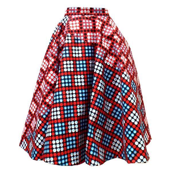 Ivie African Print Midi Circle Skirt (Red/White Polka Dots)