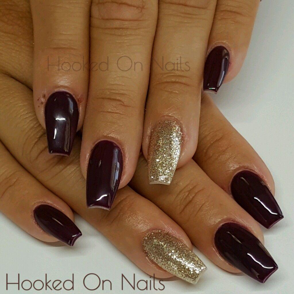 Maroon nails gold nails coffin nails   @hookedonnailz   Pinterest ...