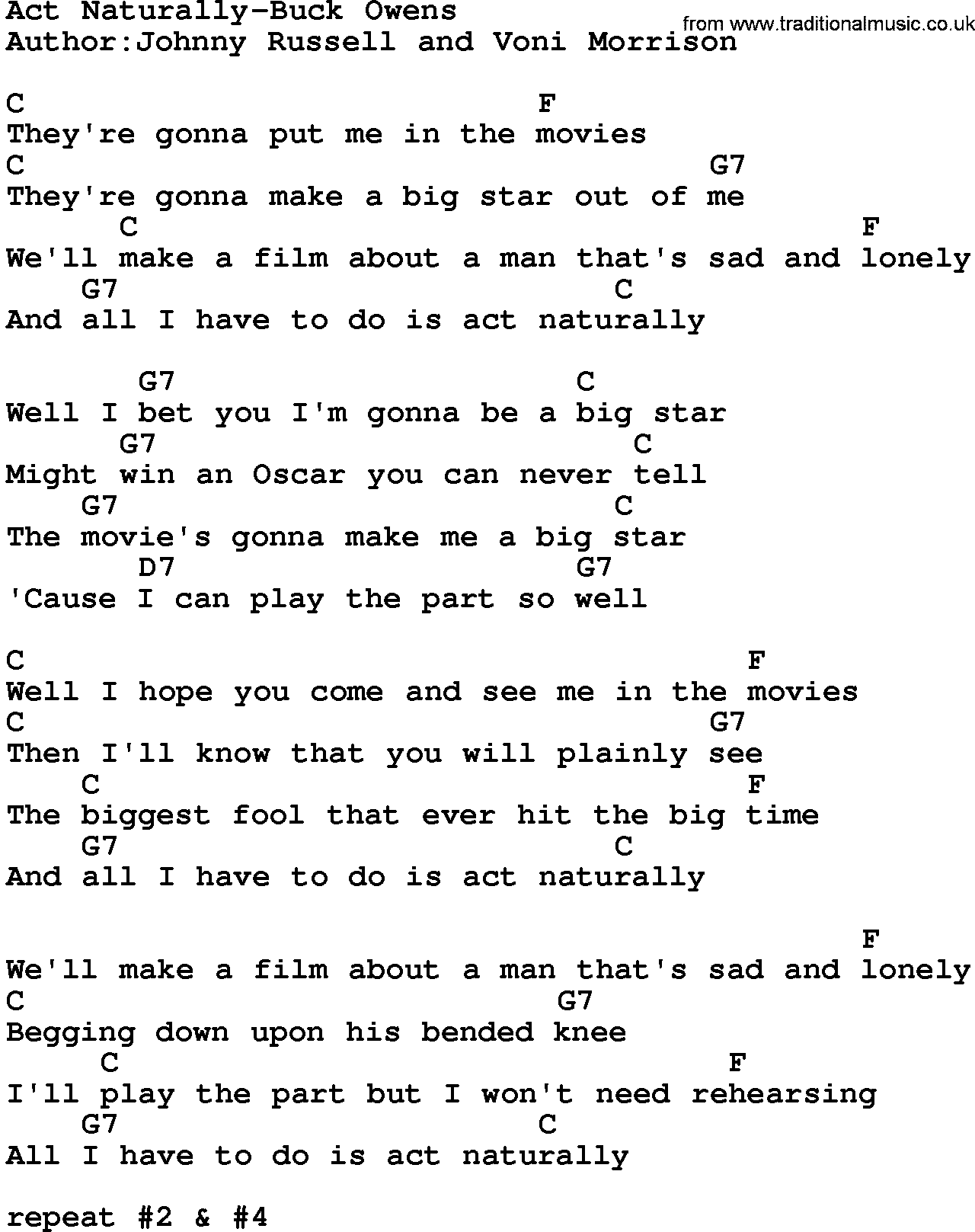 Buck owens song lyrics country music song act naturally buck country musicact naturally buck owens lyrics and chords hexwebz Image collections
