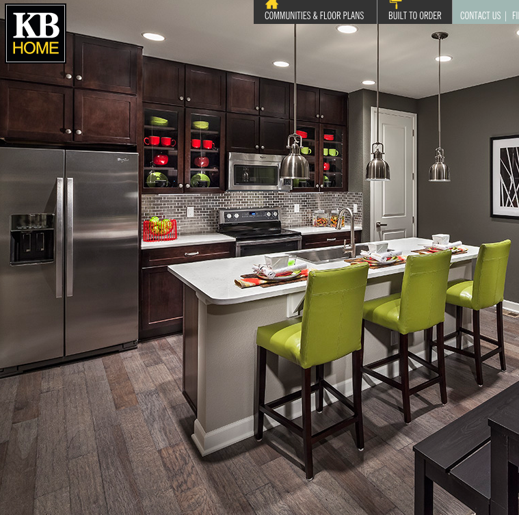 White Kitchen Cabinets For Sale: KB Home - White Countertop With Darker Cabinets
