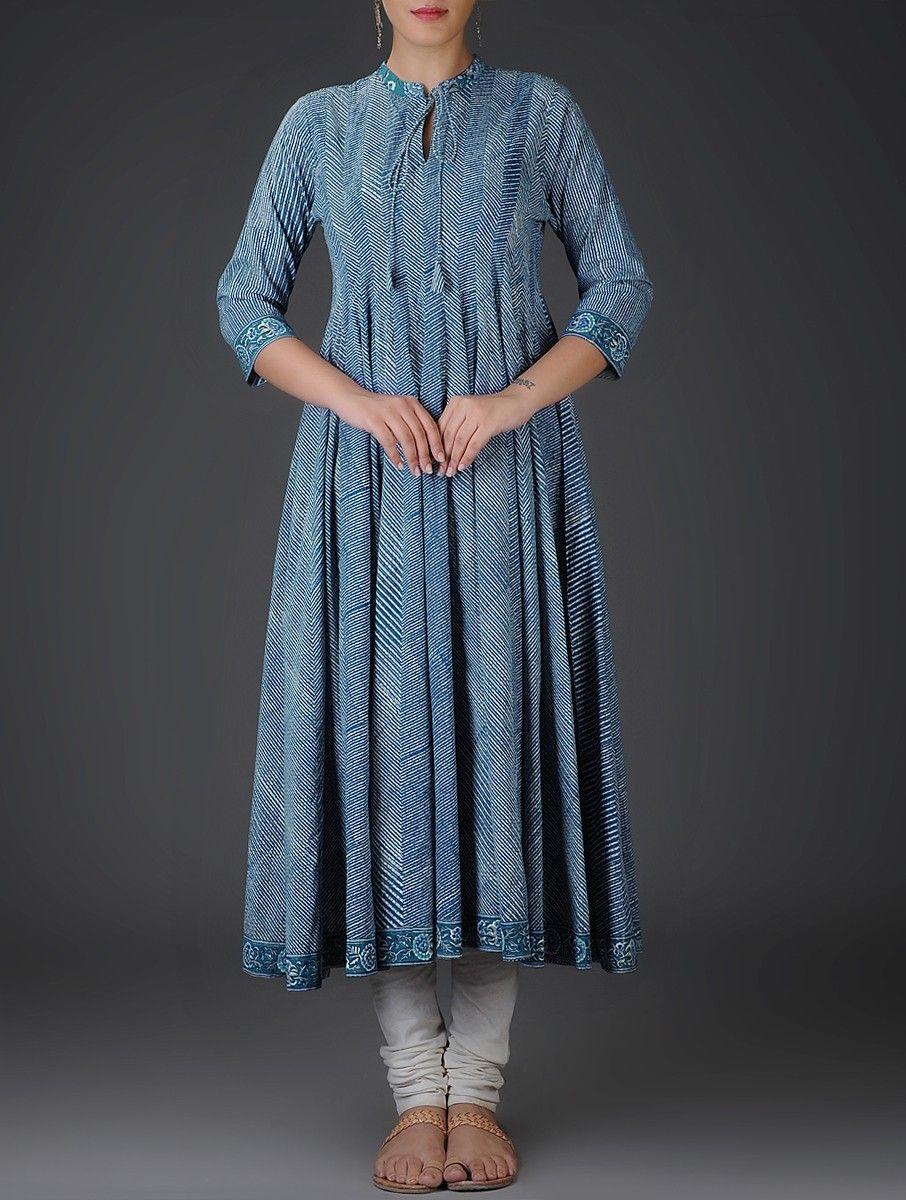 0326da9fb Buy Indigo White Block Printed Kalidar Cotton Kurta with Churidar (Set of  2)…