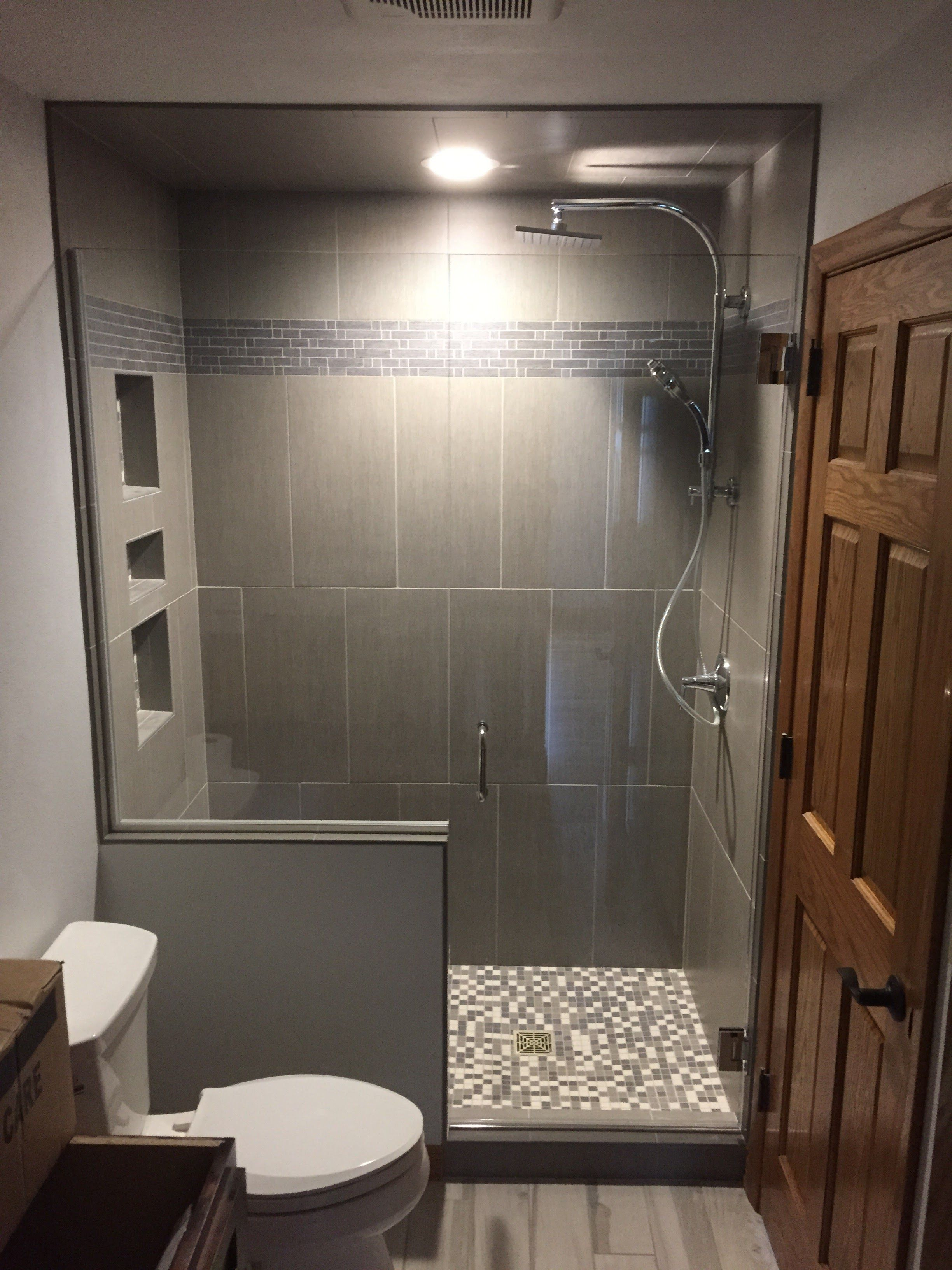 Custom Heavy Glass Shower Door And A Panel On A Half Wall Small Bathroom With Shower Half Wall Shower Bathroom Remodel Designs