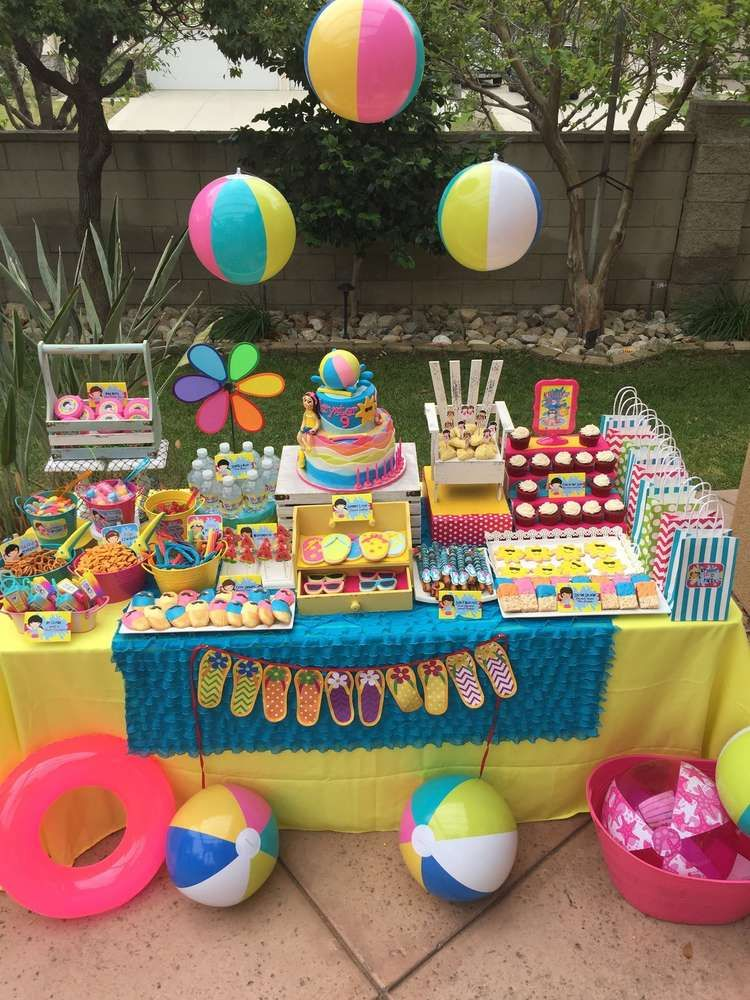Swimming pool summer party summer party ideas party for Garden pool party