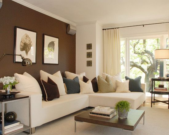 Creative Accent Wall Colors Ideas For Dining Room Comfortable Brown Themed Modern Family Idea Furnished With White Sectional Sofa Coup
