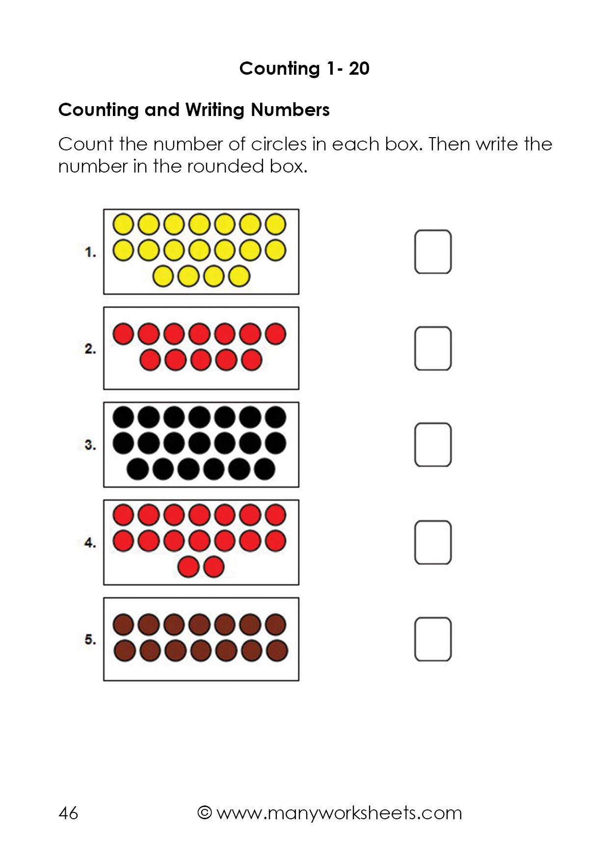 Kindergarten Number Worksheets 1 20 Counting Dots To 20