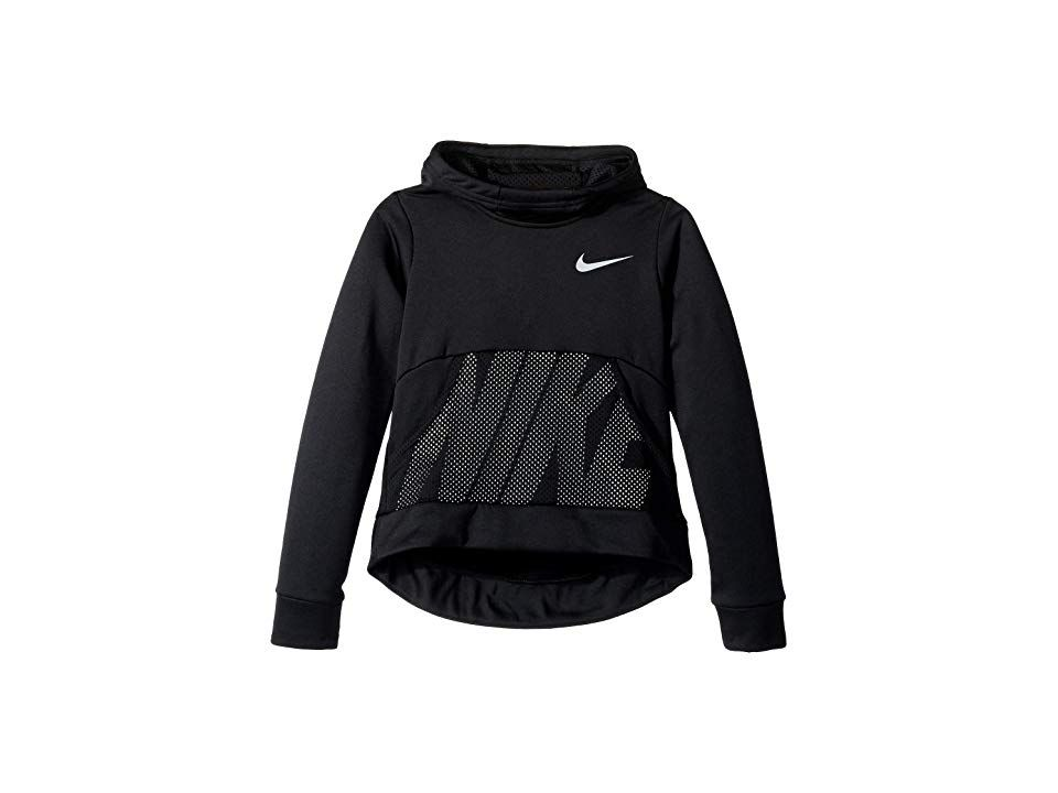 45888f3ebfad Nike Kids Therma Pullover Hoodie Energy (Little Kids Big Kids)  (Black Black White Wolf Grey) Girl s Sweatshirt. Up your outdoor training  game with this ...