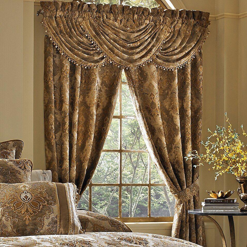 J Queen New York Bradshaw 84 Inch Rod Pocket Window Curtain Panel Pair In Natural Bed Bath Beyond Panel Curtains Rod Pocket Curtain Panels Tuscan Curtains