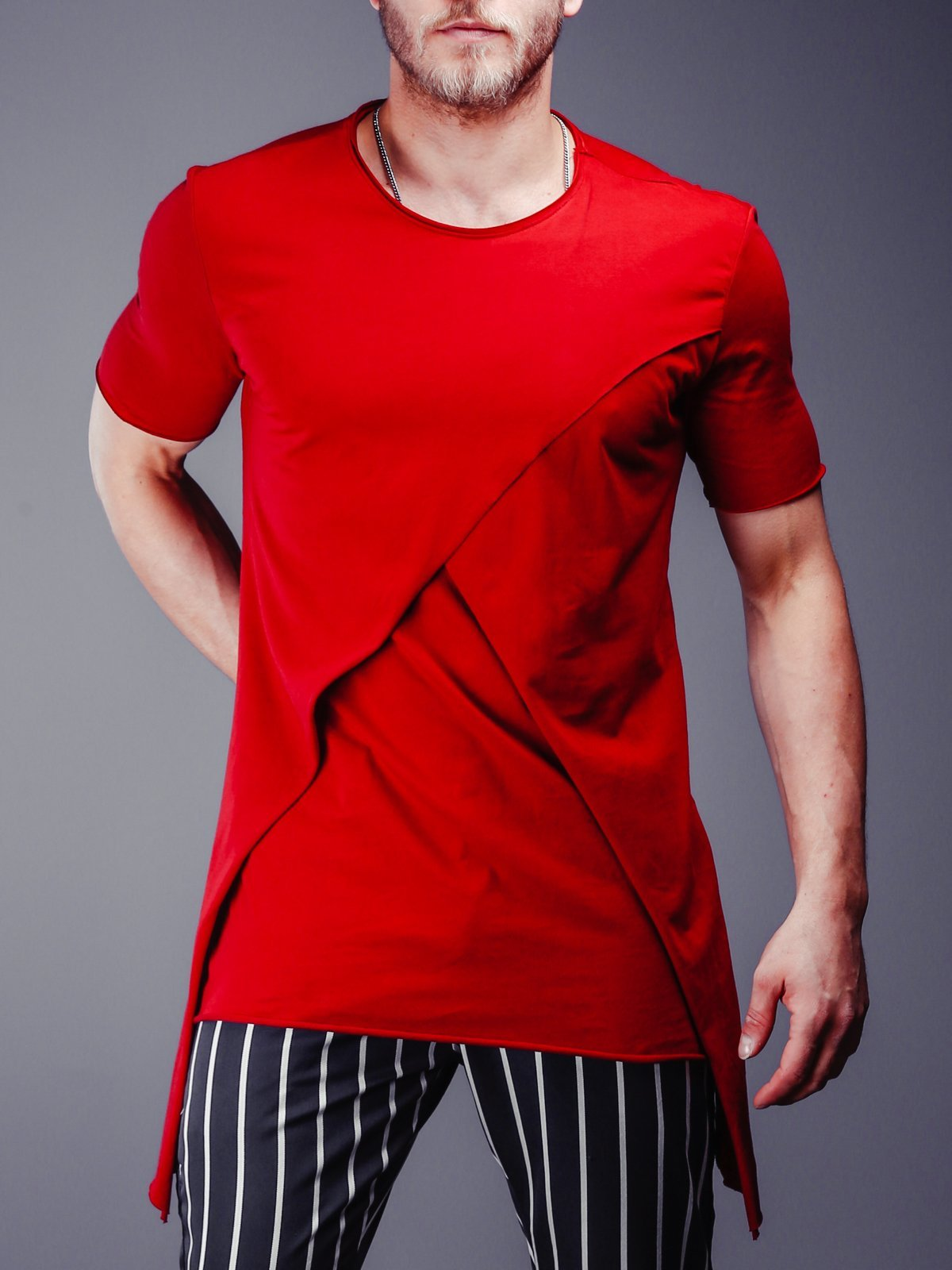 c5eeebeae39b Raw Cut T-Shirt Patched Blocks - Red in 2019