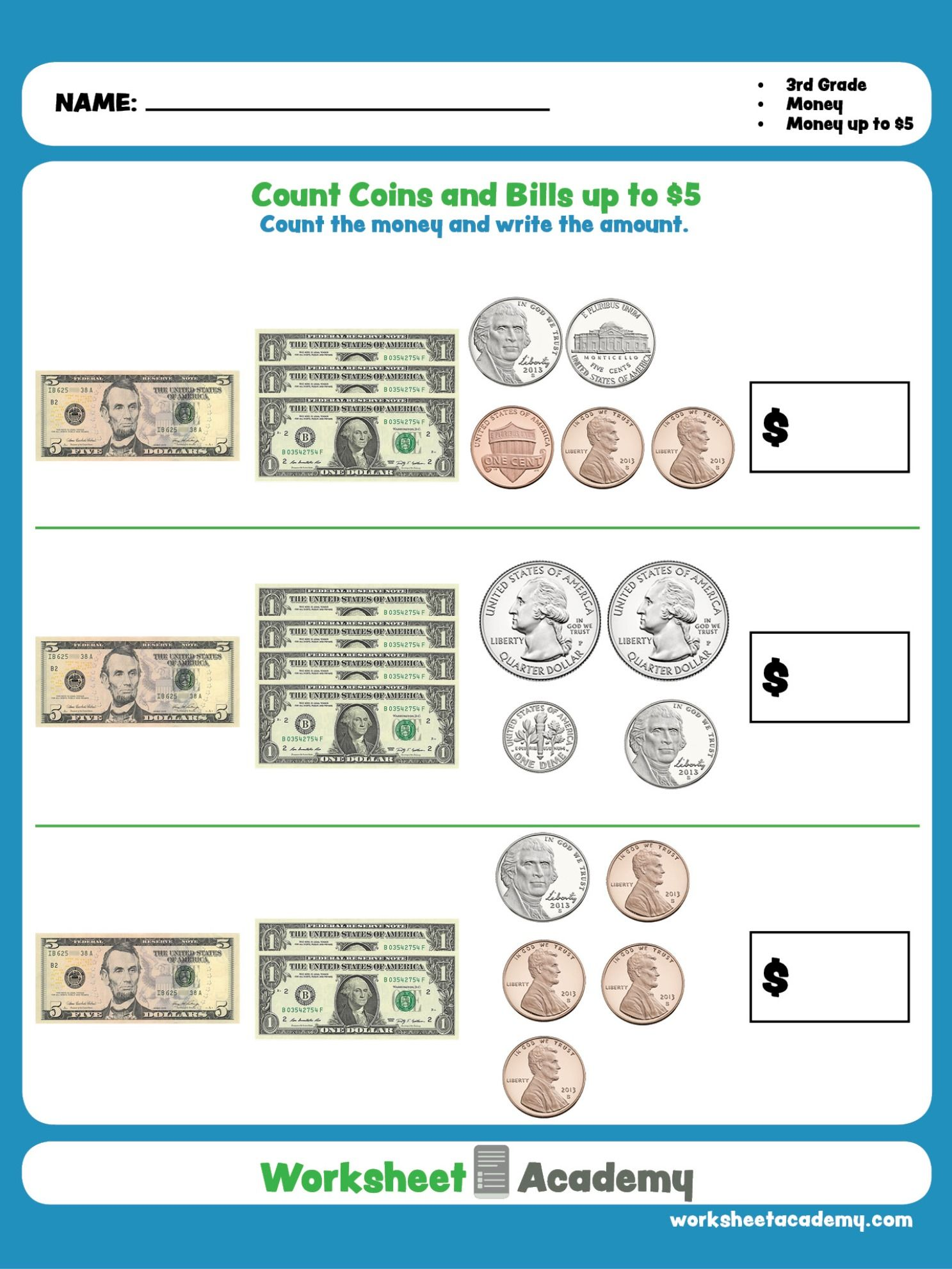 Count Coins and Bills up to $5   Third grade math worksheets [ 1982 x 1487 Pixel ]