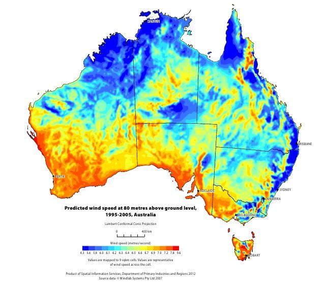 Map Of Average Wind Speed At 80m Elevation In Australia Maps And