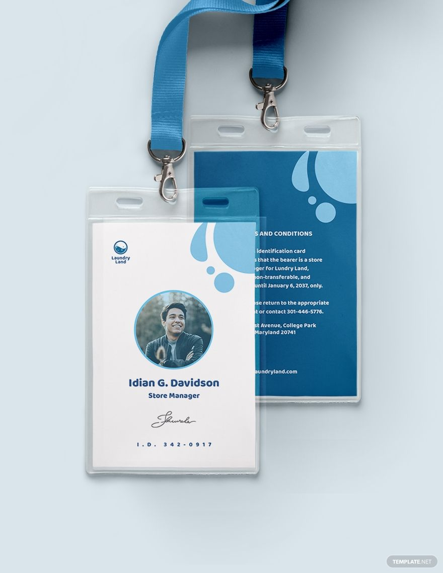 Laundry Id Card Template Word Doc Psd Indesign Apple Mac Pages Illustrator Publisher Id Card Template Card Template Stationary Branding