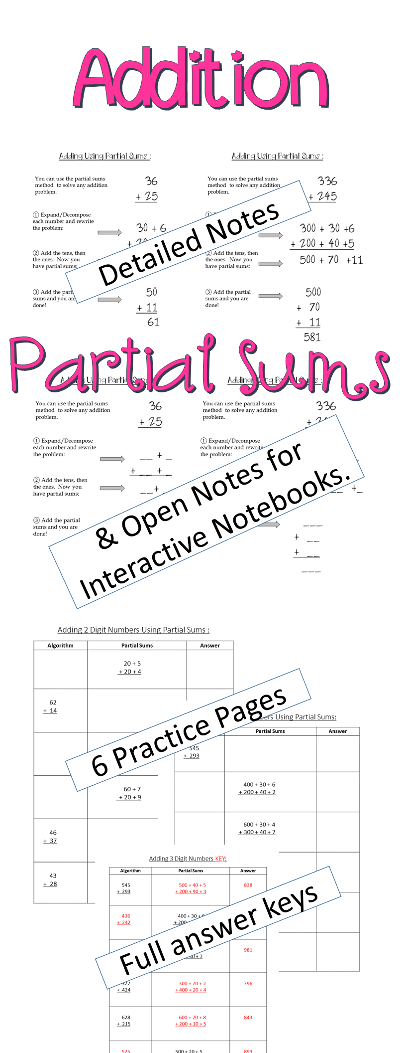 Addition Partial Sums Notes and Practice | Elementary math, Math ...