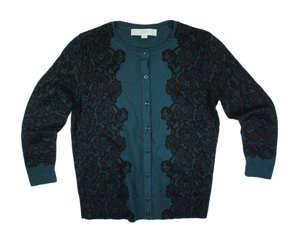 ANN TAYLOR LOFT Size S Green Lace Print Pima Cotton Cardigan ...