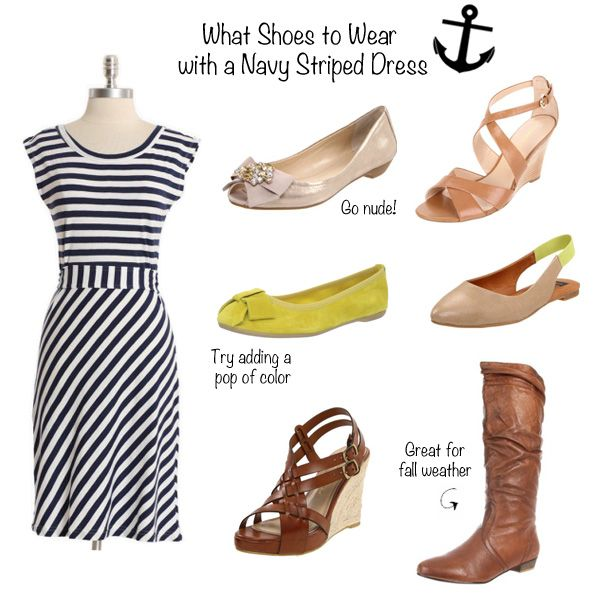 What shoes to wear with a navy striped dress