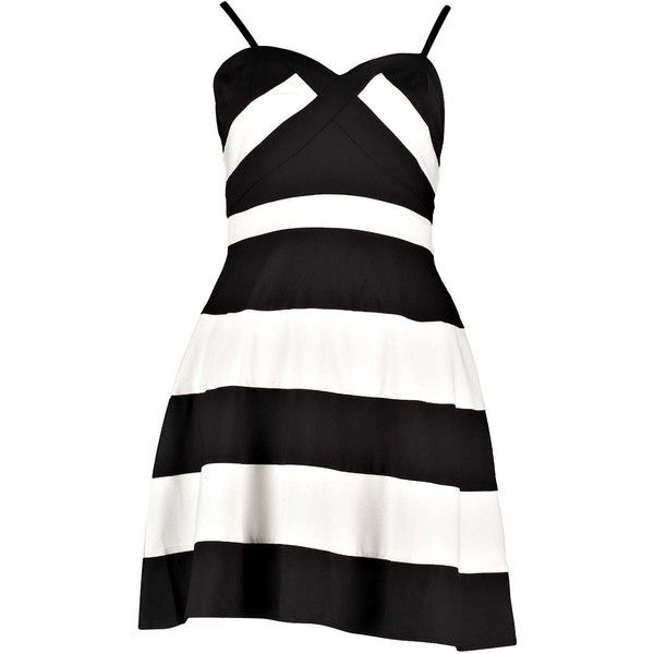 Boohoo Jolie Colour Block Strappy Skater Dress ($20) ❤ liked on Polyvore featuring dresses, colorblock dress, block print dress, color block dress, skater dress e color block skater dress