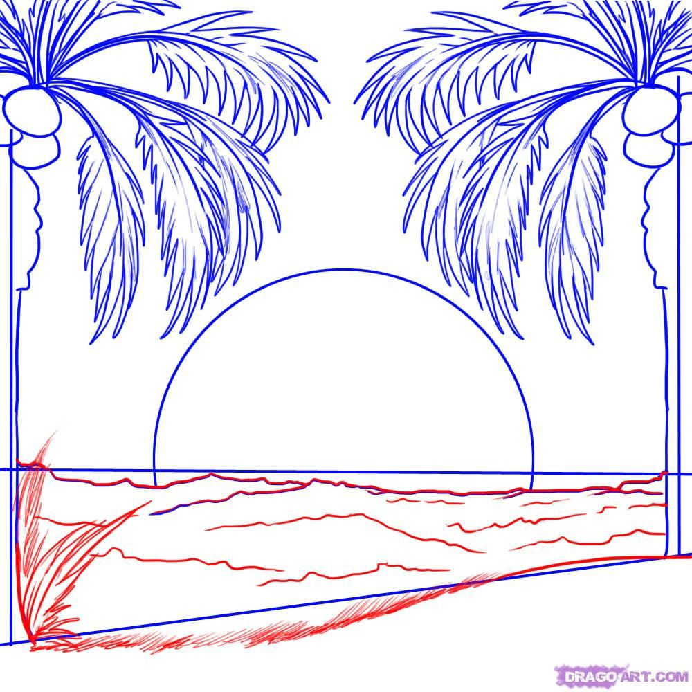 Cool Sunsets To Draw For Kids