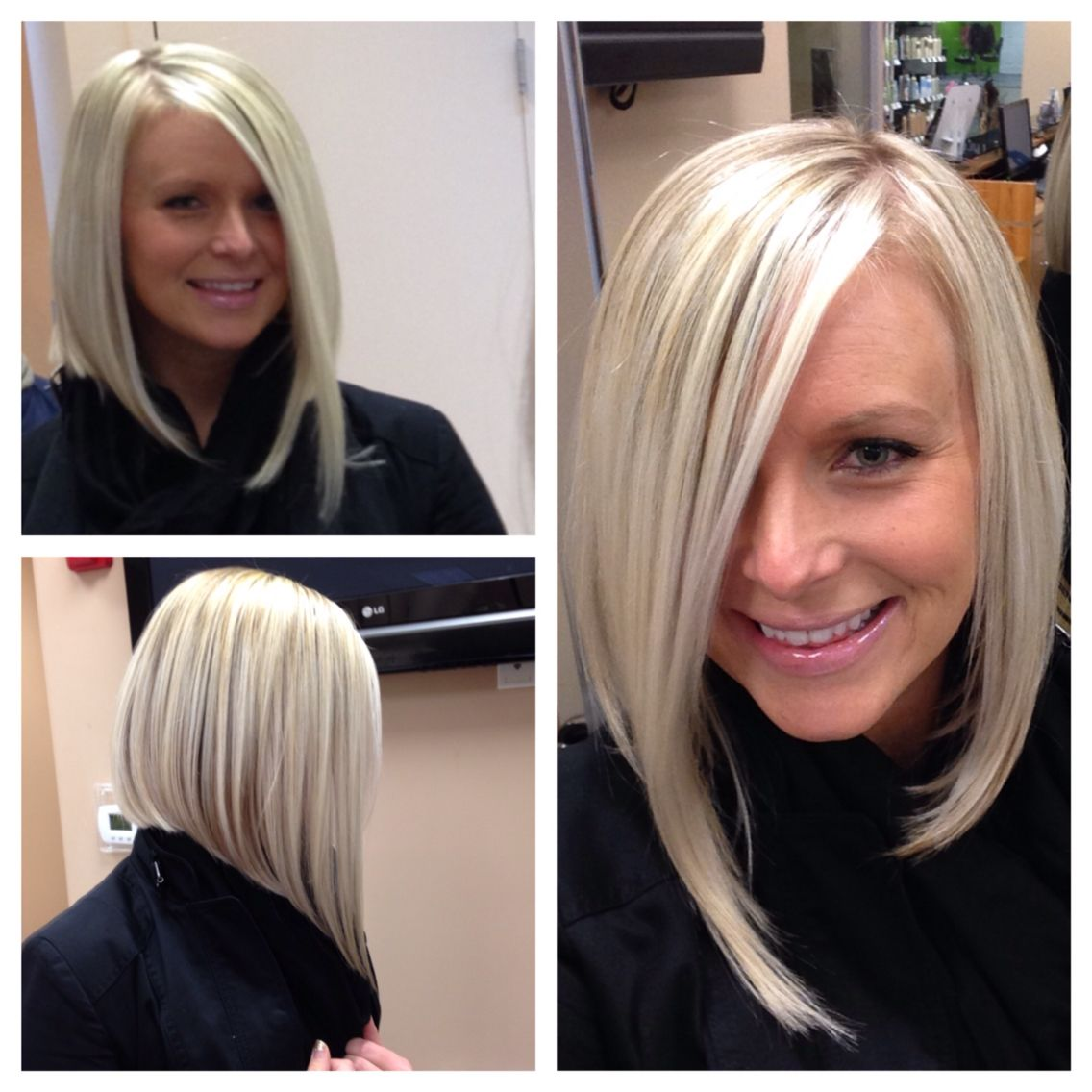 short angled bob blonde hair pin on my style