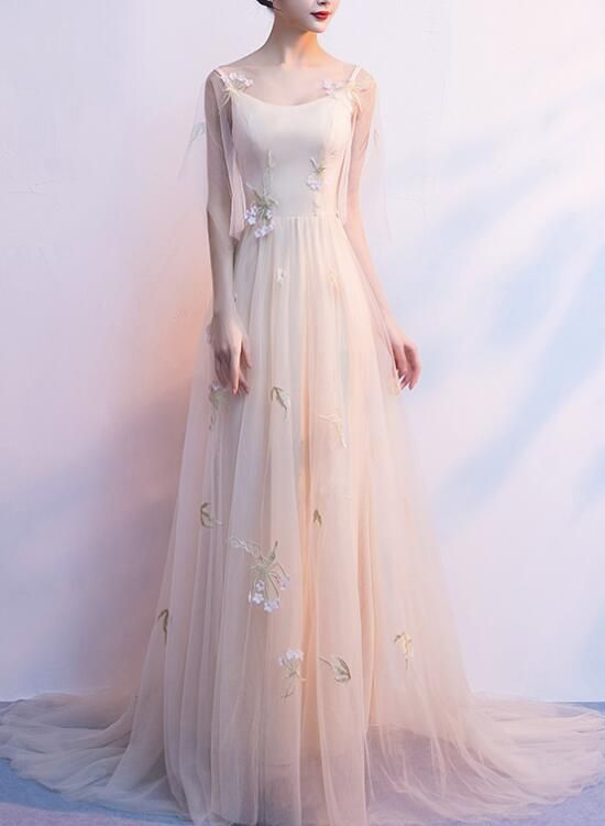 Light Champagne Tulle Long Straps Formal Gown, Gorgeous ...