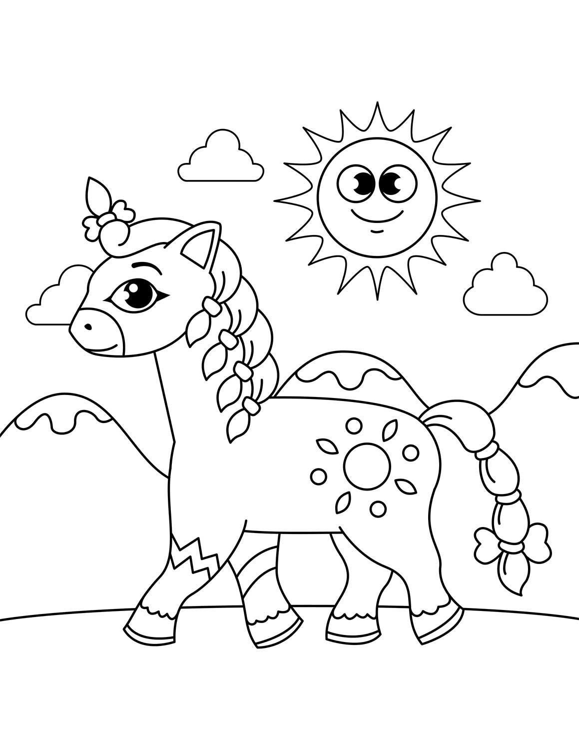 Cute Horse With Braided Mane And Tail Coloring Page Animal Coloring Pages Printable Coloring Book Horse Coloring Pages