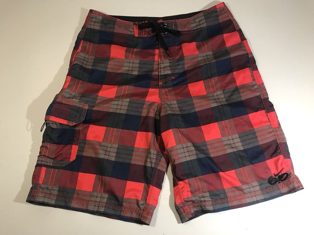 Nike 6.0 Plaid Board Shorts Swim Trunks Red Brown Navy Mens