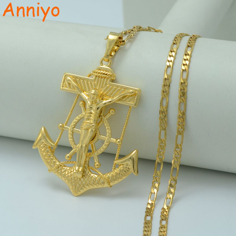 >> Click to Buy << Anniyo Big Jesus Anchor Necklaces for Men/Women Gold Color God Bless Pendant Cross Jewelry Christian Chain #010804 #Affiliate