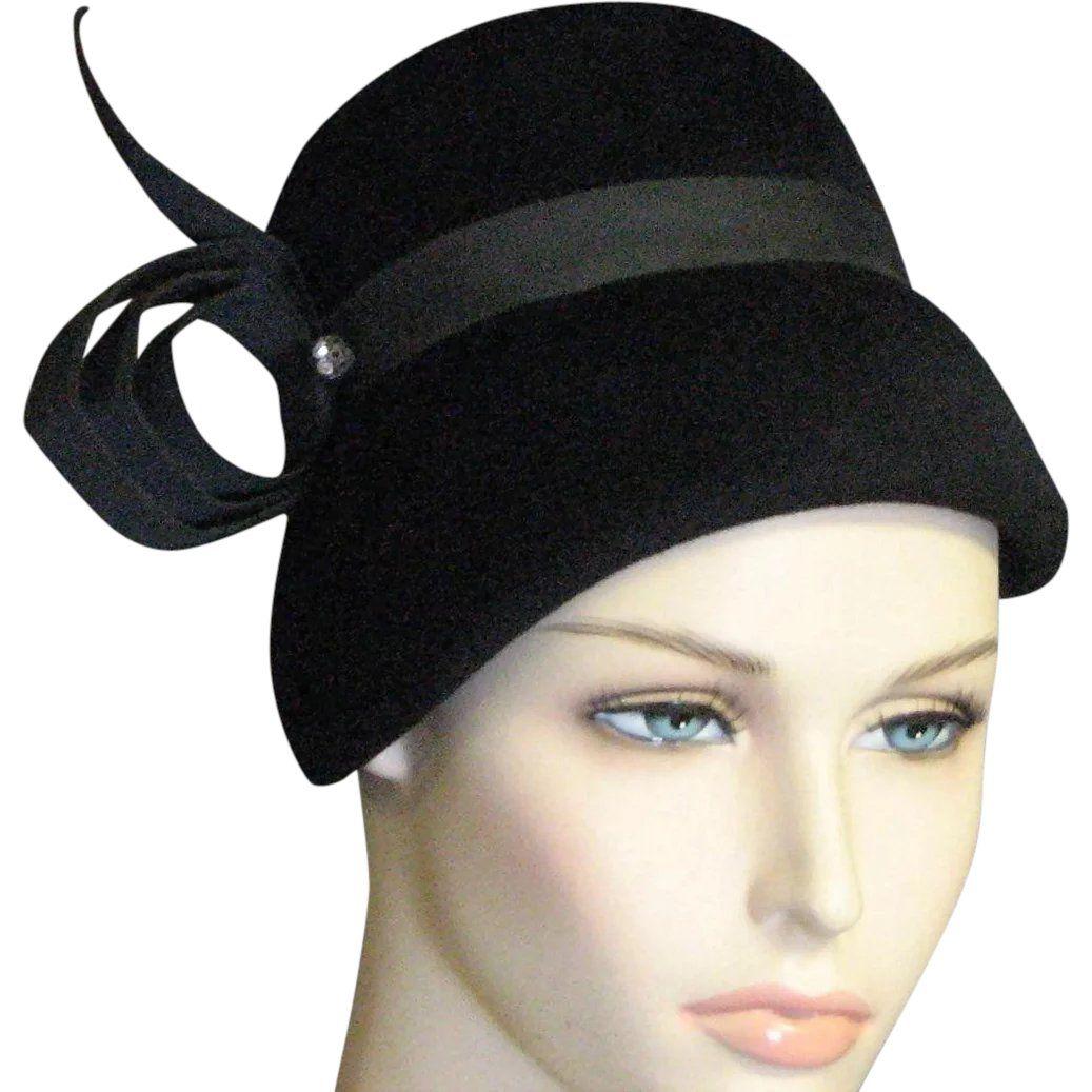 09b71f5e33a6f 1950 s Black Velvet Party Hat www.rubylane.com  vintagebeginshere