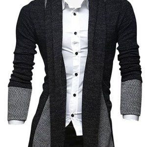 Turn-Down Collar Color Block Splicing Long Sleeve Lengthen Cardigan