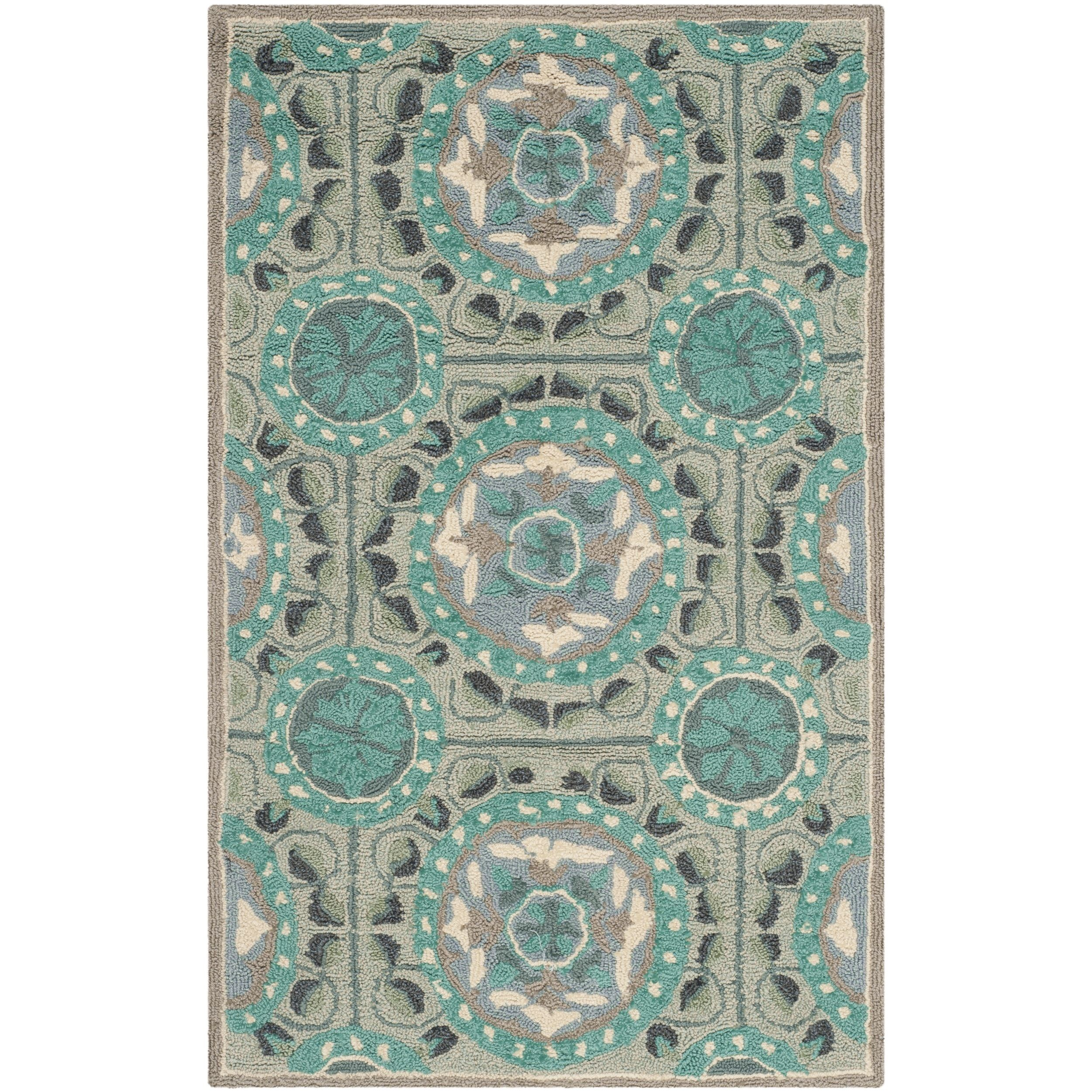 Safavieh Indoor/ Outdoor Four Seasons Mint/ Aqua Rug (2' x 3') (FRS485D-2), Green, Size 2' x 3' (Polypropylene, Floral)
