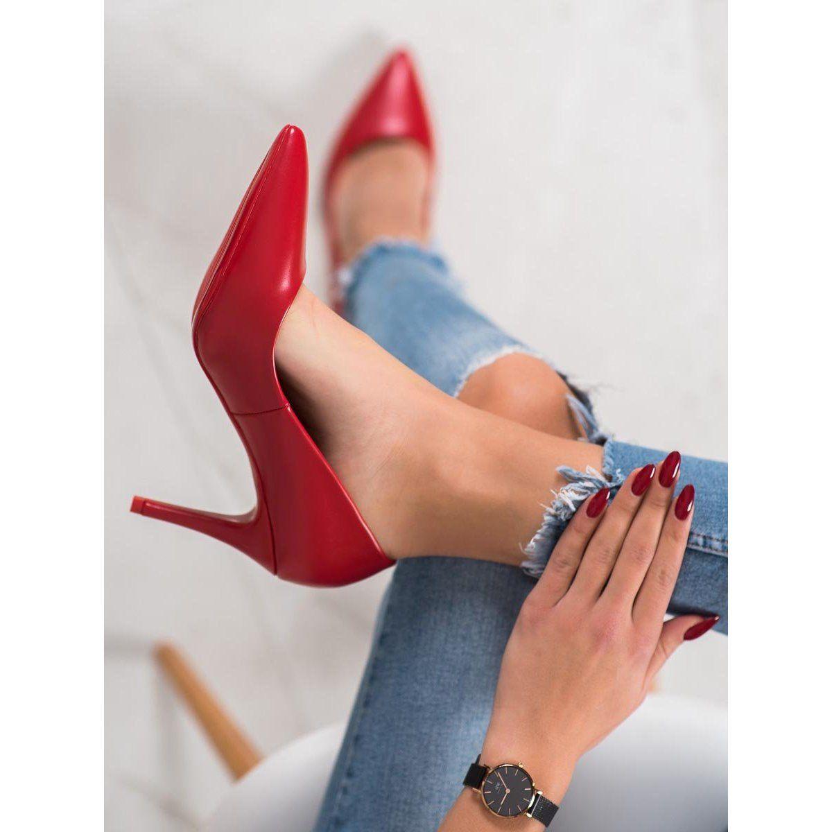 Small Swan Eleganckie Czerwone Szpilki Heels Stiletto Stiletto Heels