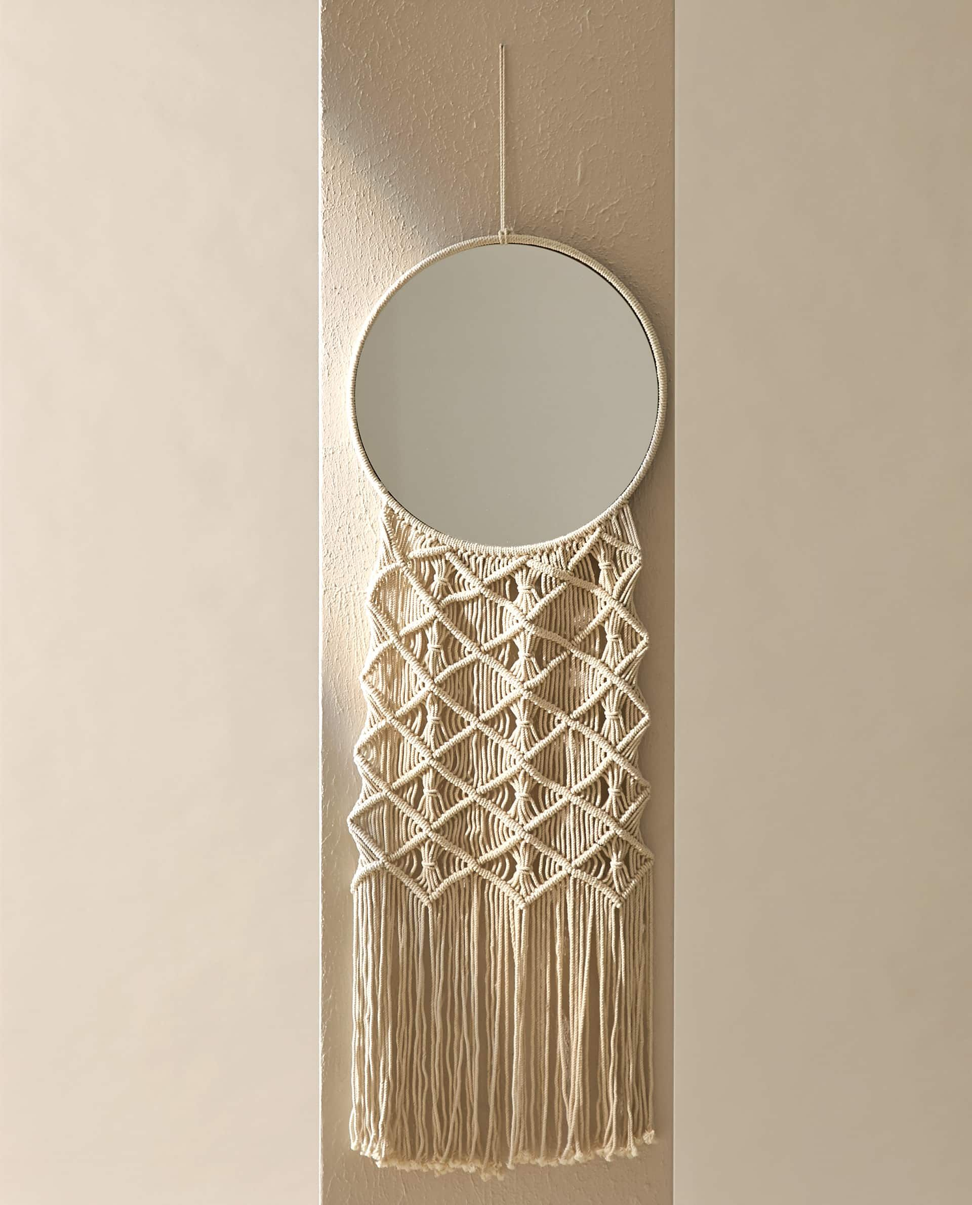 Round Mirror With Macrame Tapestry New In New Collection