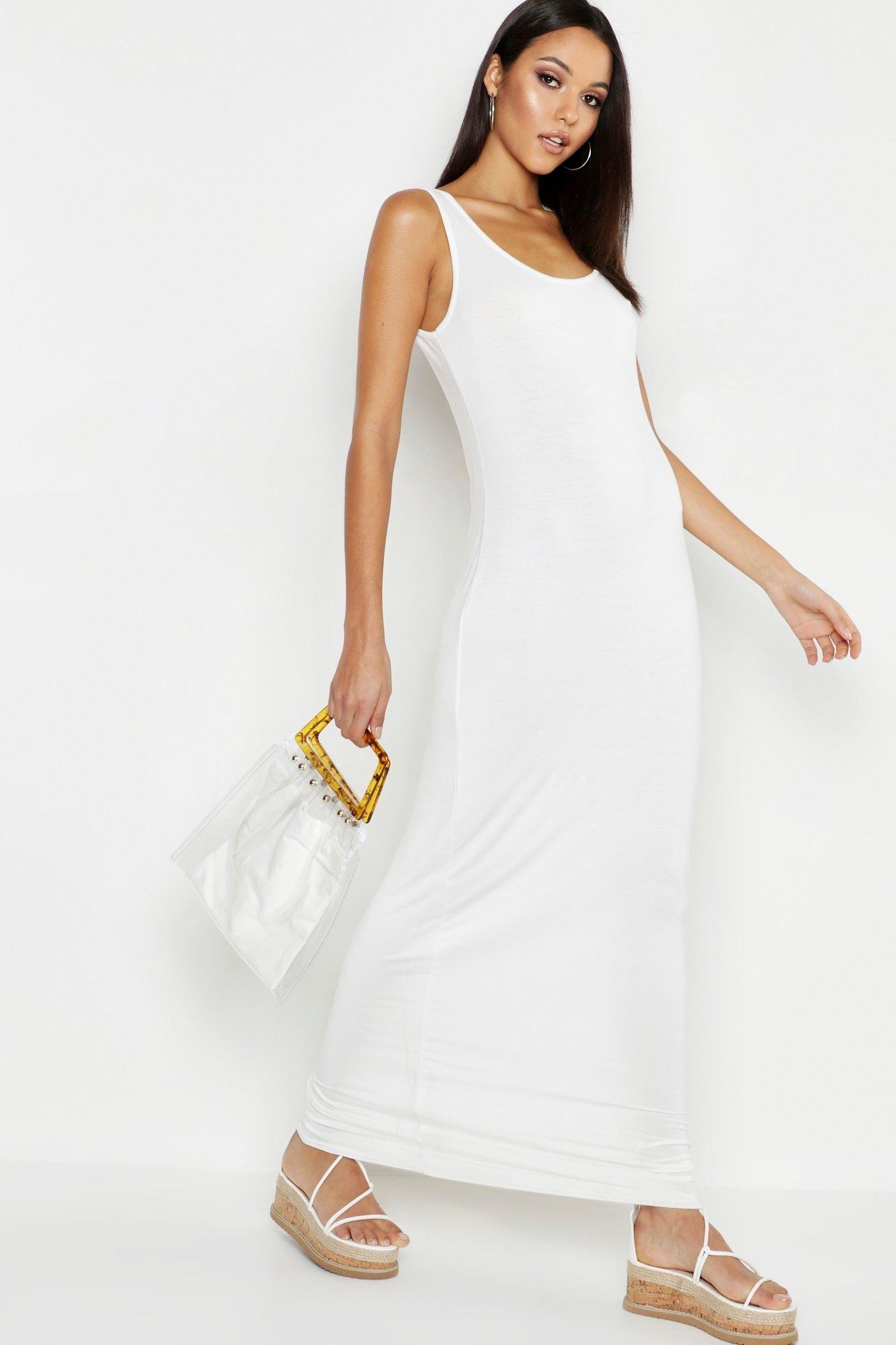 Tall Basic Maxi Dress Boohoo In 2021 Basic Maxi Dress Tall Maxi Dress White Maxi Dresses [ 2000 x 1333 Pixel ]
