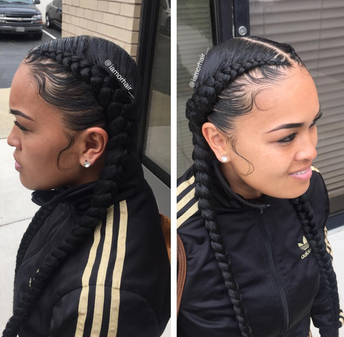 Braids And Laid Edges By Iamorhair Black Hair Information Community Two Braid Hairstyles Weave Hairstyles Braided Braids With Weave