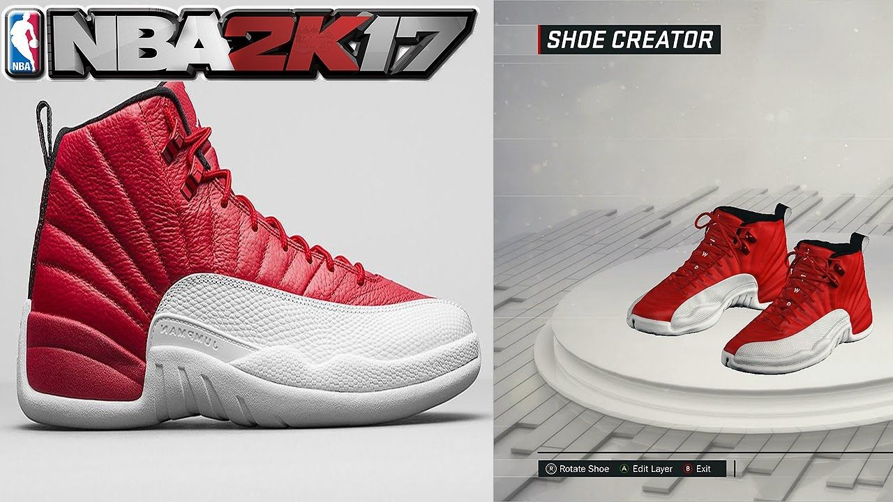 NBA 2K17 Shoe Creator Air Jordan 12 Gym Red