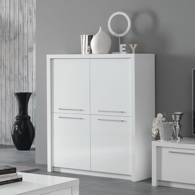Buffet Haut Blanc Laque Design Verona Meuble Rangement Decoration Interieure Meuble Suspendu