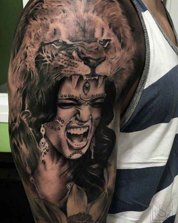 Native American Woman With Lion Hat Tattoo On The Right Upper Arm Tattoo Artist Sergio Fernandez Body Art Tattoos Native American Tattoo Tattoos