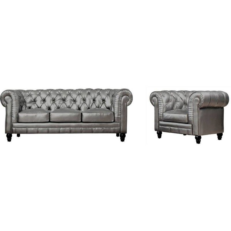 Zahara Silver Leather Sofa Chair Set Roll Back Tov S24 01 S