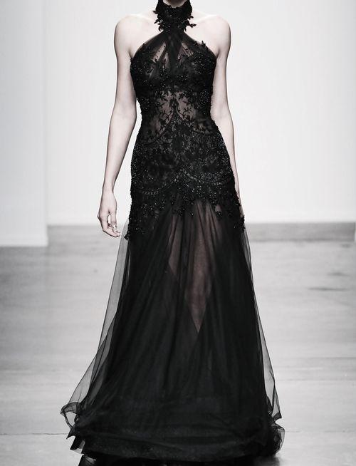 Steven Khalil sheer black dress with elegant beadwork. The dramatic ...