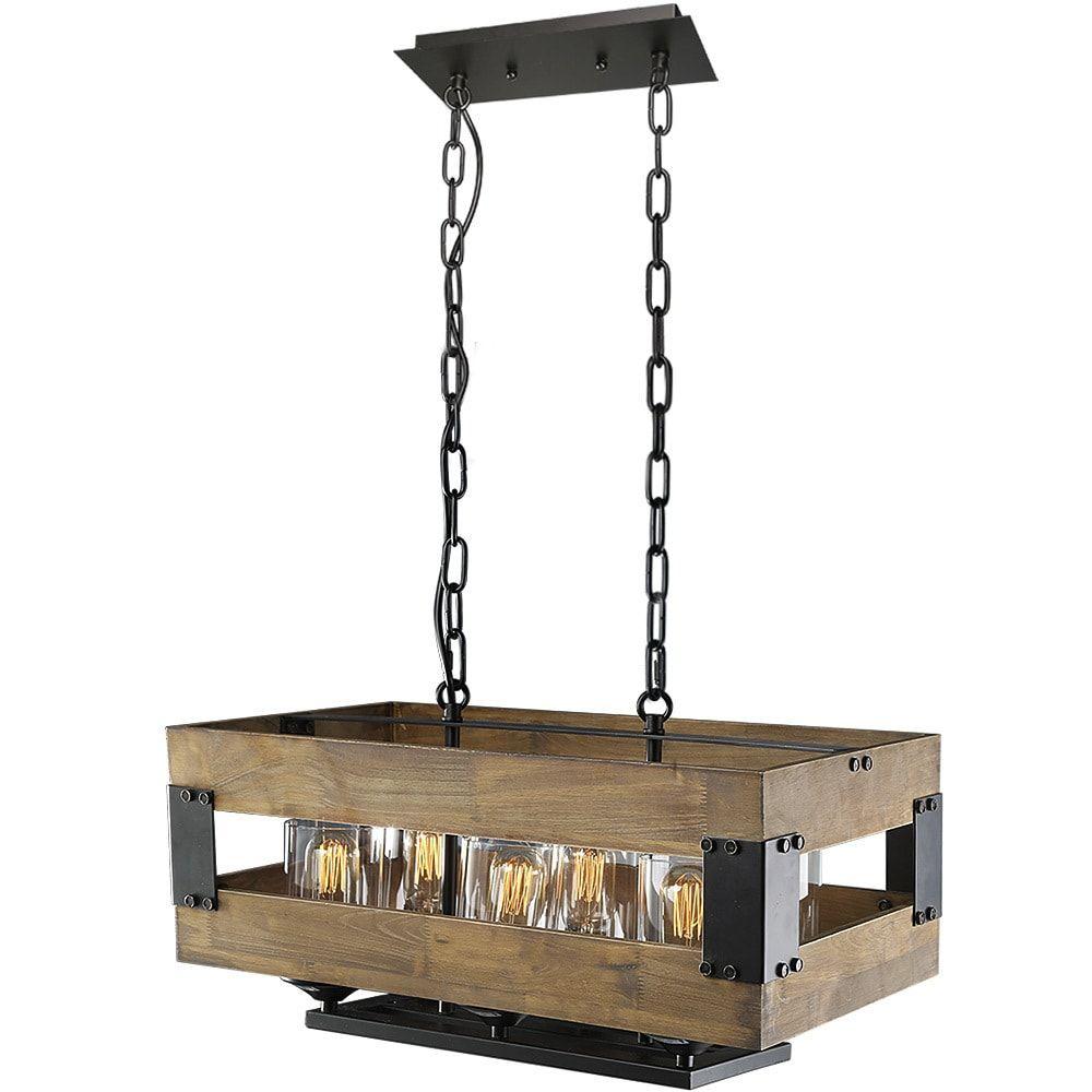 Lnc wooden chandeliers rustic pendant lighting light kitchen