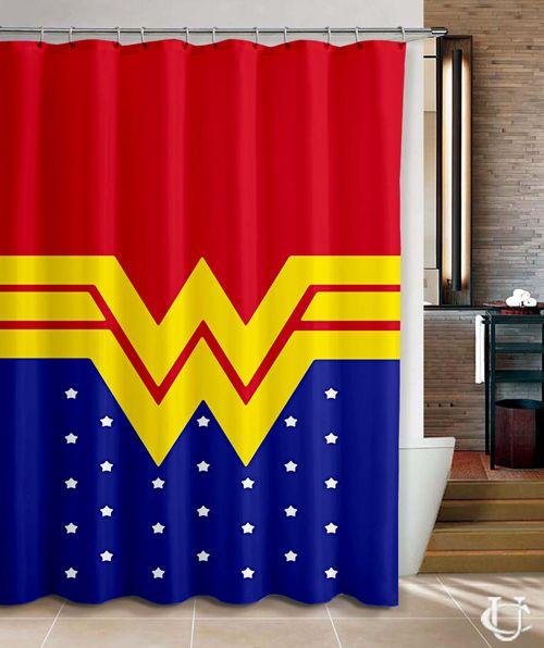 Superman Bathroom Decor: Wonder Woman Inspired Disney Super Hero Shower Curtain