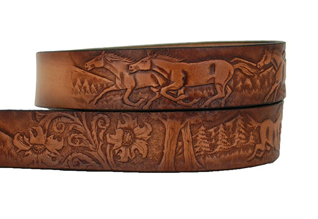 High Springs Leather Childrens Name Belt Horse Scene Personalized