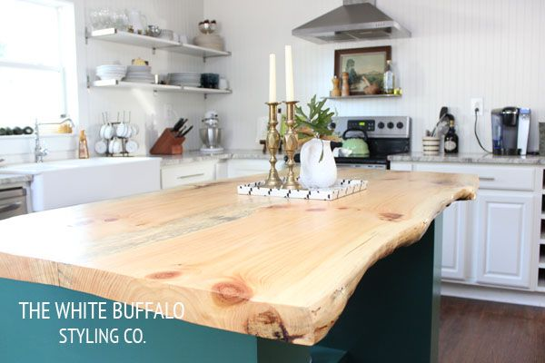 terrific wood countertop white kitchen island | Eclectic Home Tour - The White Buffalo Styling Co | Diy ...