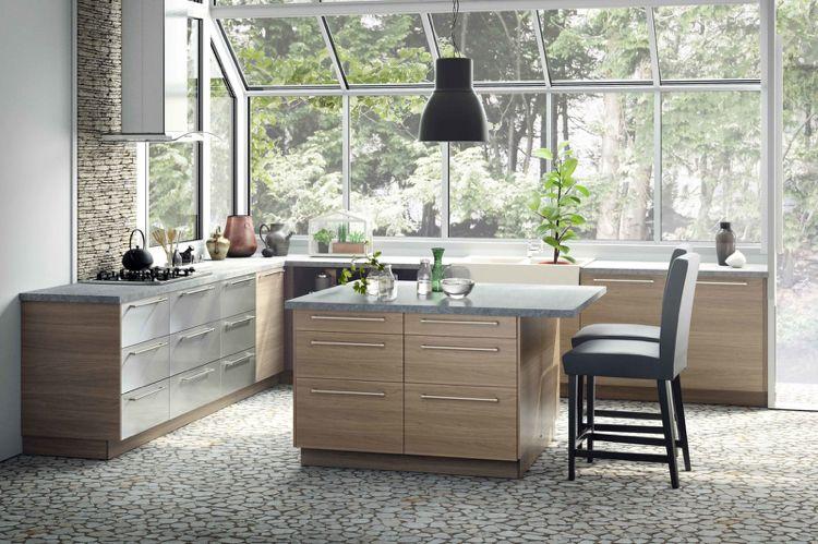 Küchenschrank Griffstangen Edelstahl Granit Arbeitsplatte Grau