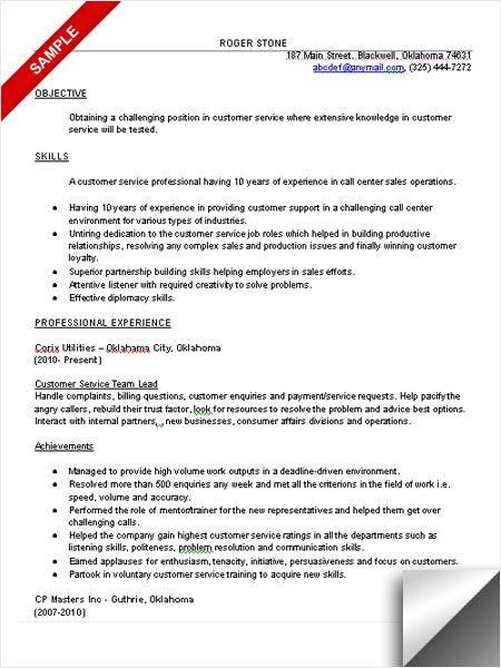 Customer Service Resume Sample Objective Skills Customer Service Resume Resume Services Resume