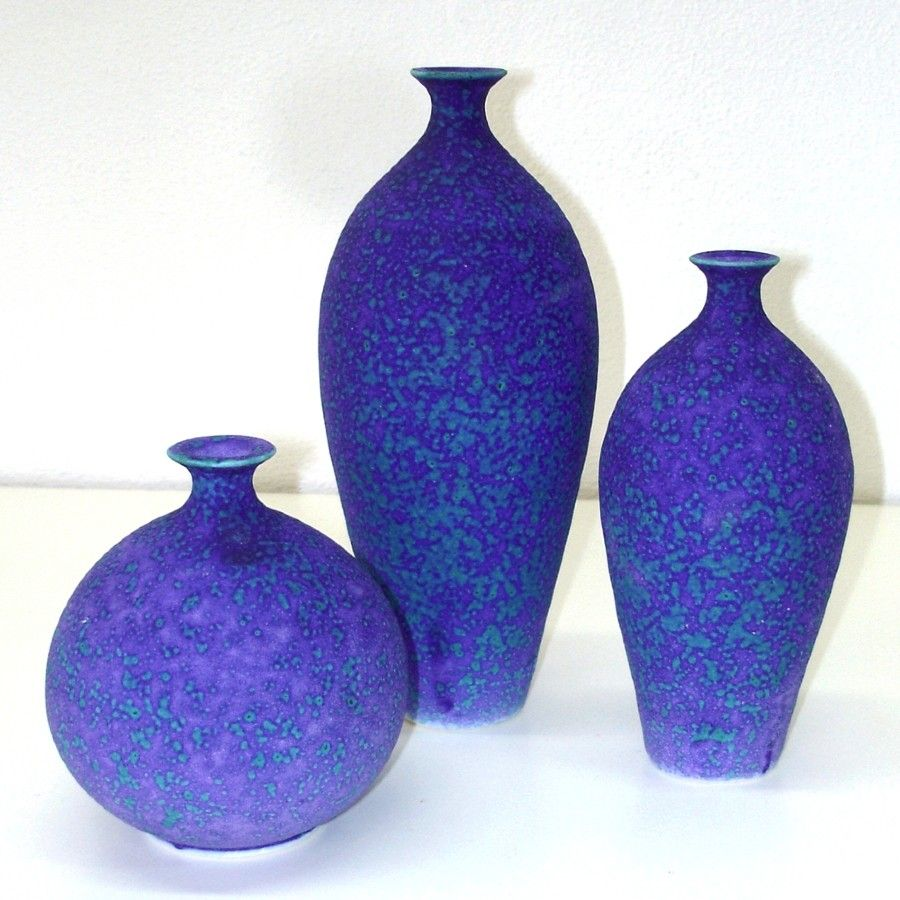 group of three amethyst purple-blue bottles.   handmade wheel-thrown pottery.    (made by marietta at blueroompottery, on etsy.)
