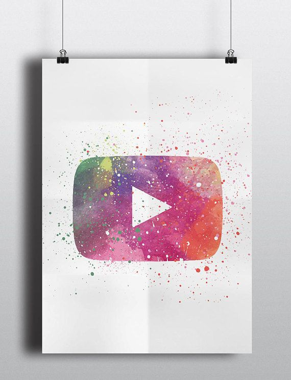 Youtube Inspired Poster Print Play Button Digital Download
