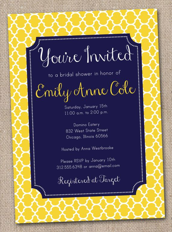 printable bridal shower invitation yellow quatrefoil with navy blue beautiful summer invite