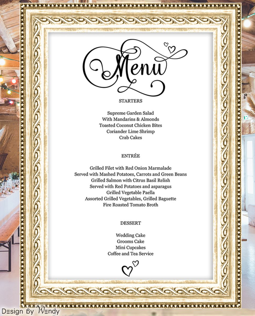 Simple Hairstyle For Wedding Dinner: Wedding Menu Board Template (can Be Used For All Occasions