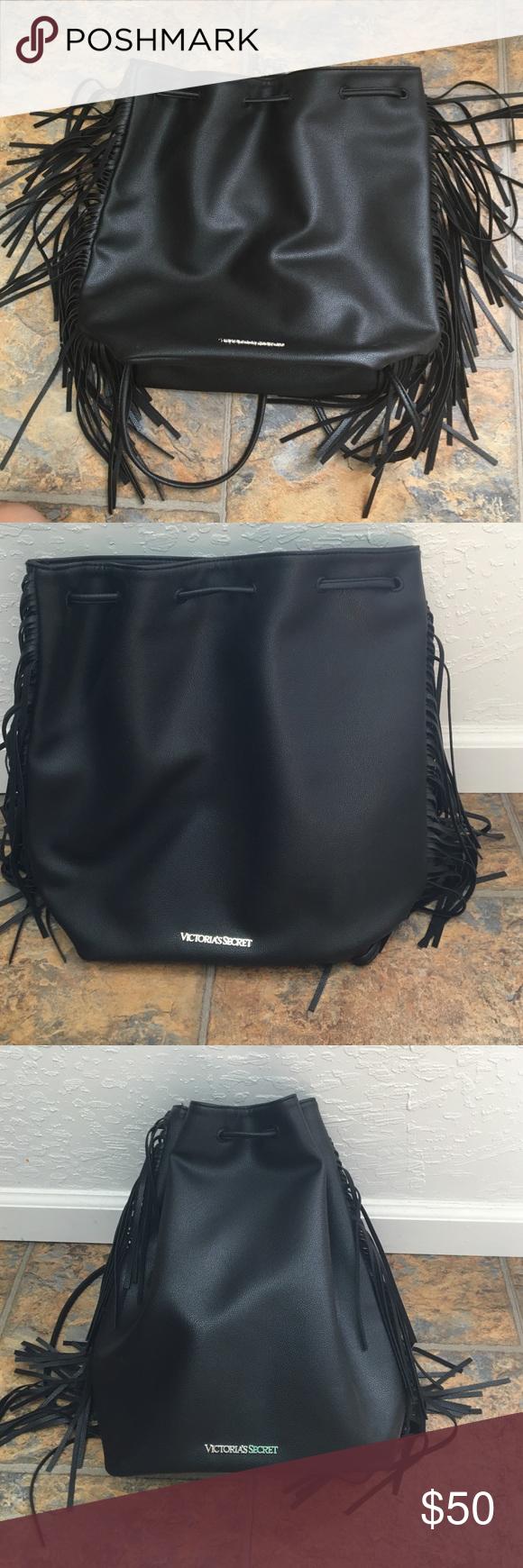 Victoria's Secret black leather fringe drawstring Victoria's Secret black leather fringe drawstring Victoria's Secret Bags Backpacks