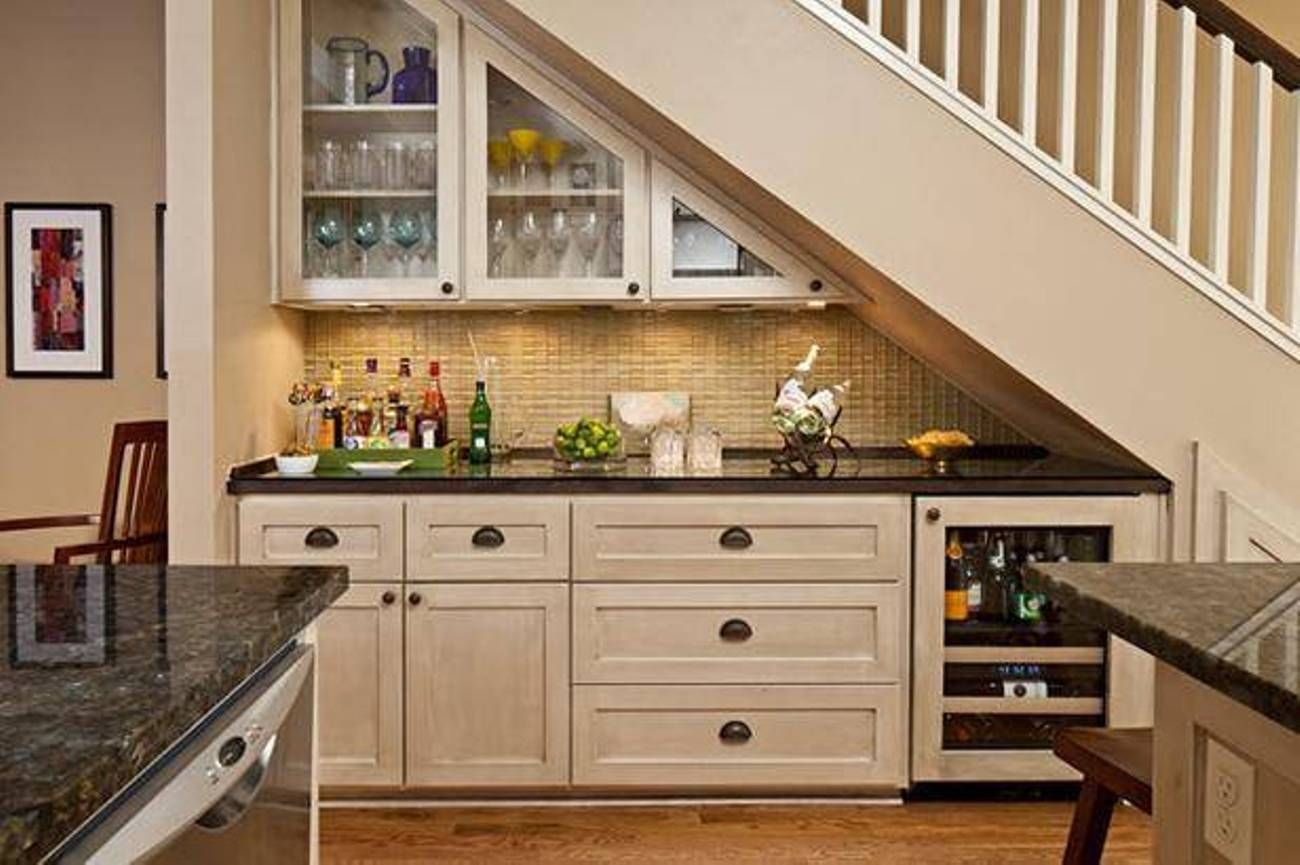 Under stairs kitchen under staircase designs kitchen for Kitchen designs under stairs