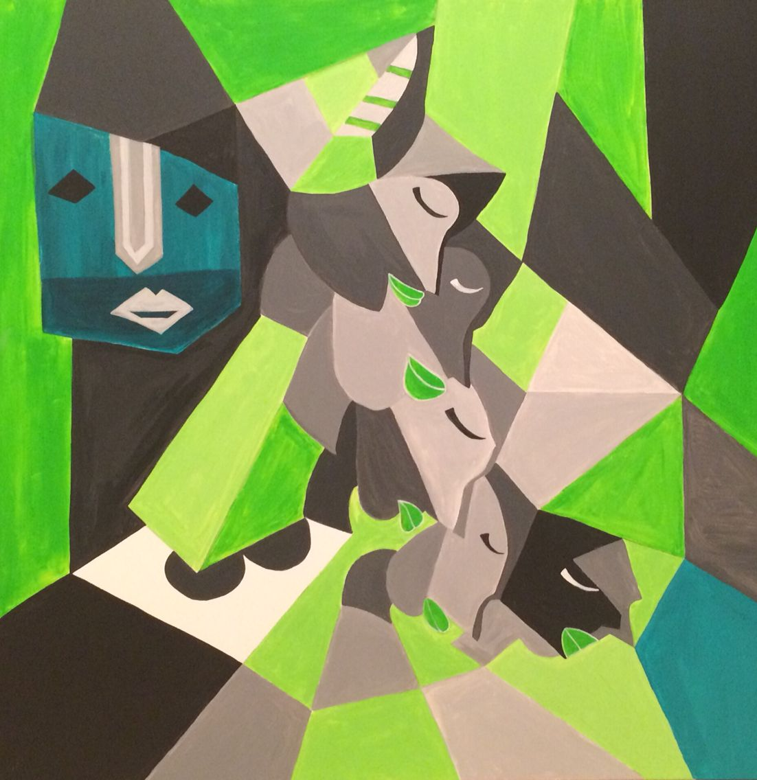 Green and Gray, 80x80 cm, acrylic on canvas, June 2015